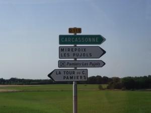 Carcassonne Mirepoix road sign 14609766667_29e9040313_o