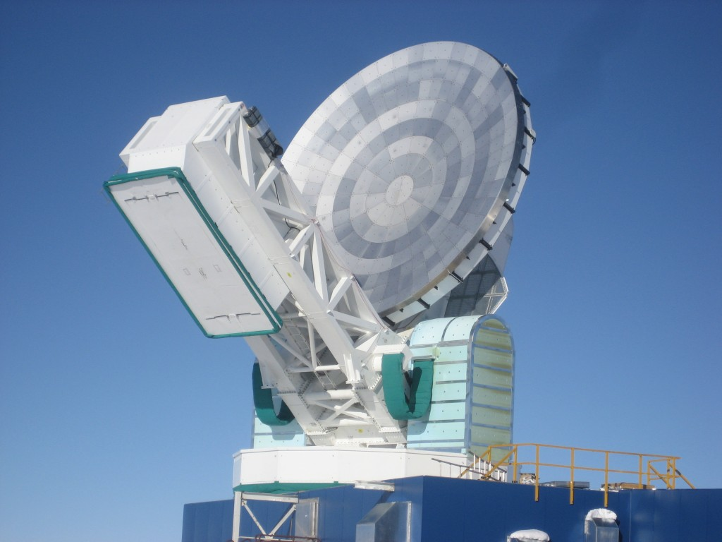 In the thin, dry air at the South Pole, there is no water vapor to absorb microwave radiation, making it possible for the telescope to detect the Cosmic Microwave Background. Courtesy of John Ruhl.