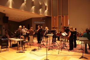 The CWRU Baroque Orchestra prepares for a live broadcast on WGBH