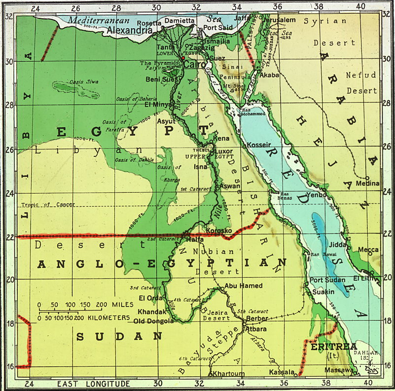 The lower 1200 miles of the Nile. Map.