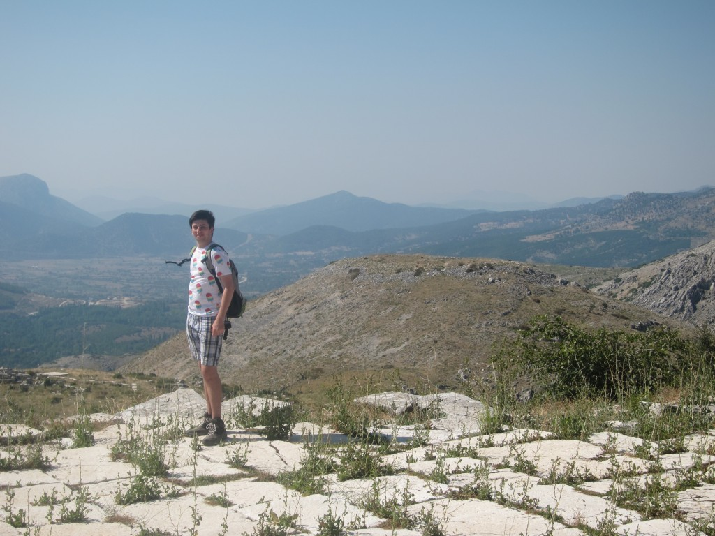 The picture was taken at Sagalassos. Behind Boaz is the hill from which Alexander the Great is thought to have attacked the city in 333 B.C.