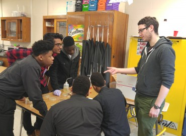 Biology students Vishal Bobba and Barry Teich at Ginn Academy