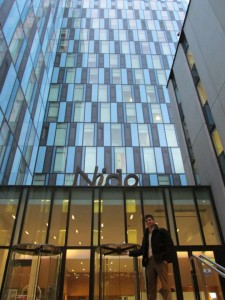 Jason Sleisenger stands outside of the Nido student housing used by RADA (Royal Academy of Dramatic Arts) in London.