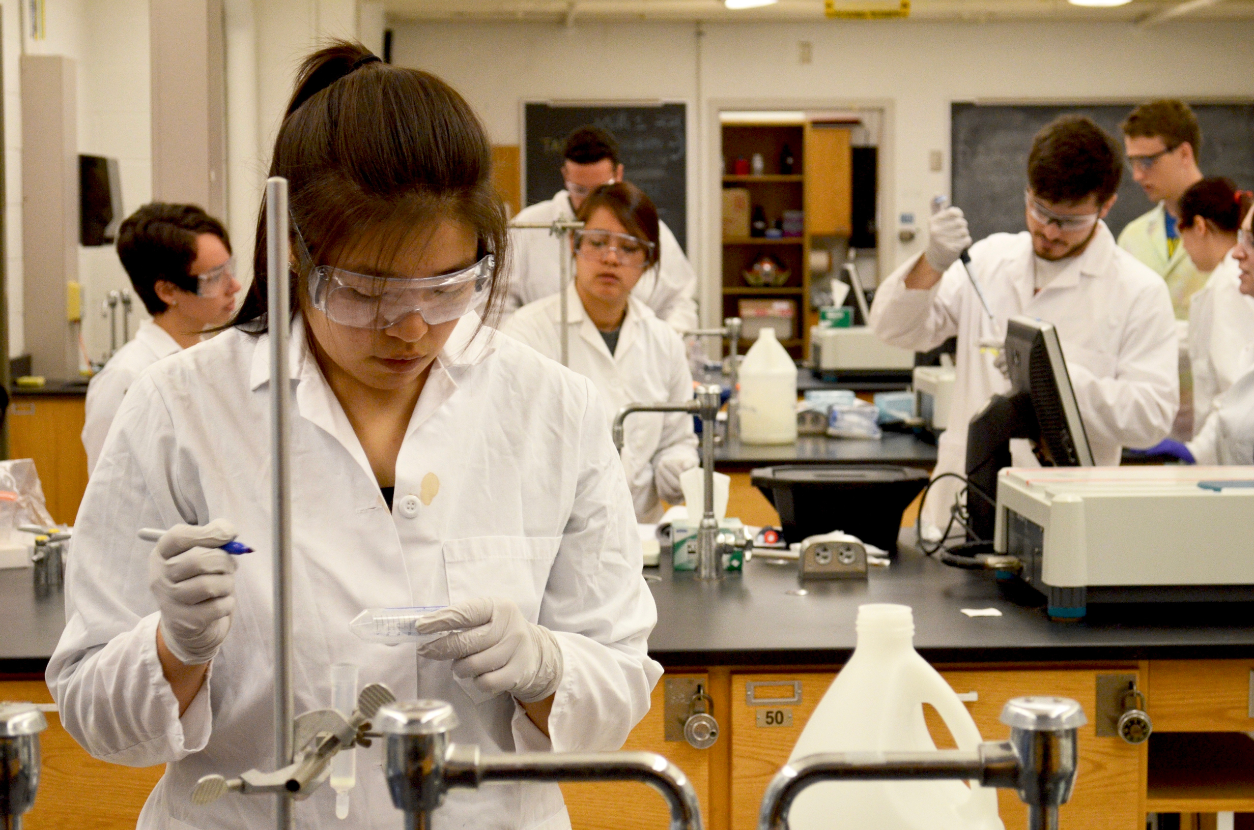 back cover photo for newsletter fall 2016 - students in chemistry lab