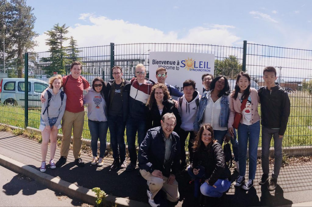 CWRU students post at the SOLEIL synchrotron
