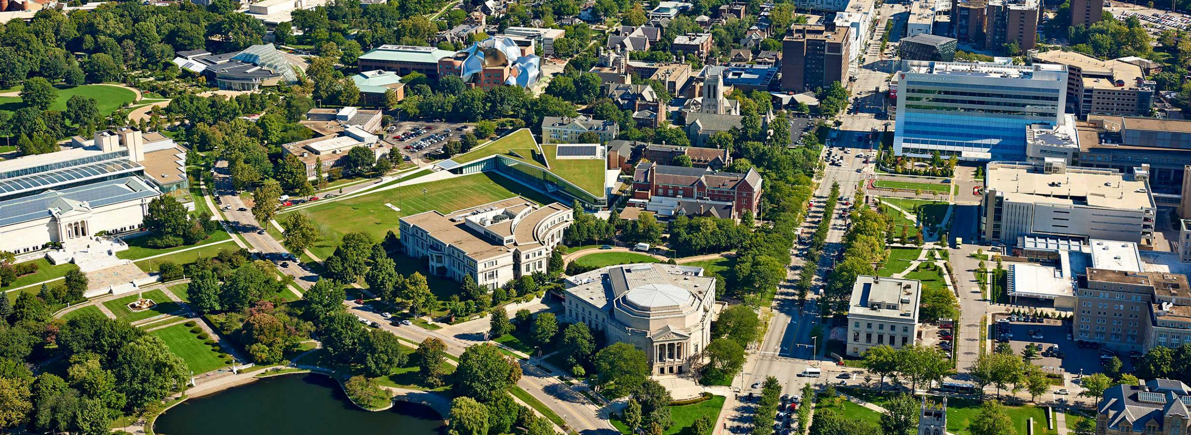 Arial photo of the CWRU campus