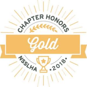 badge stating Chapter Honors NSSLHA 2018