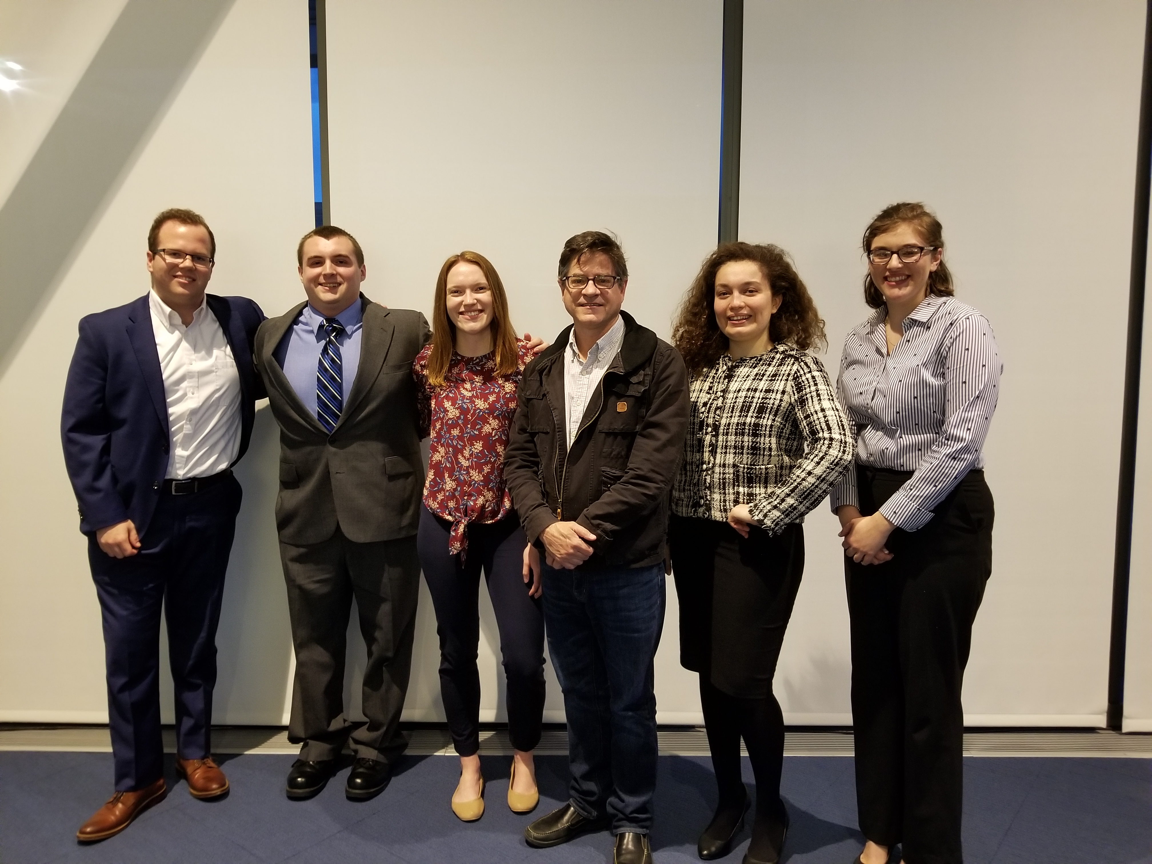 Professor Pete Moore with his advisees, Tim O'Shea, Jake Vent, Sydney Anderson, Dilara Kucuk, and Victoria Radcliff.