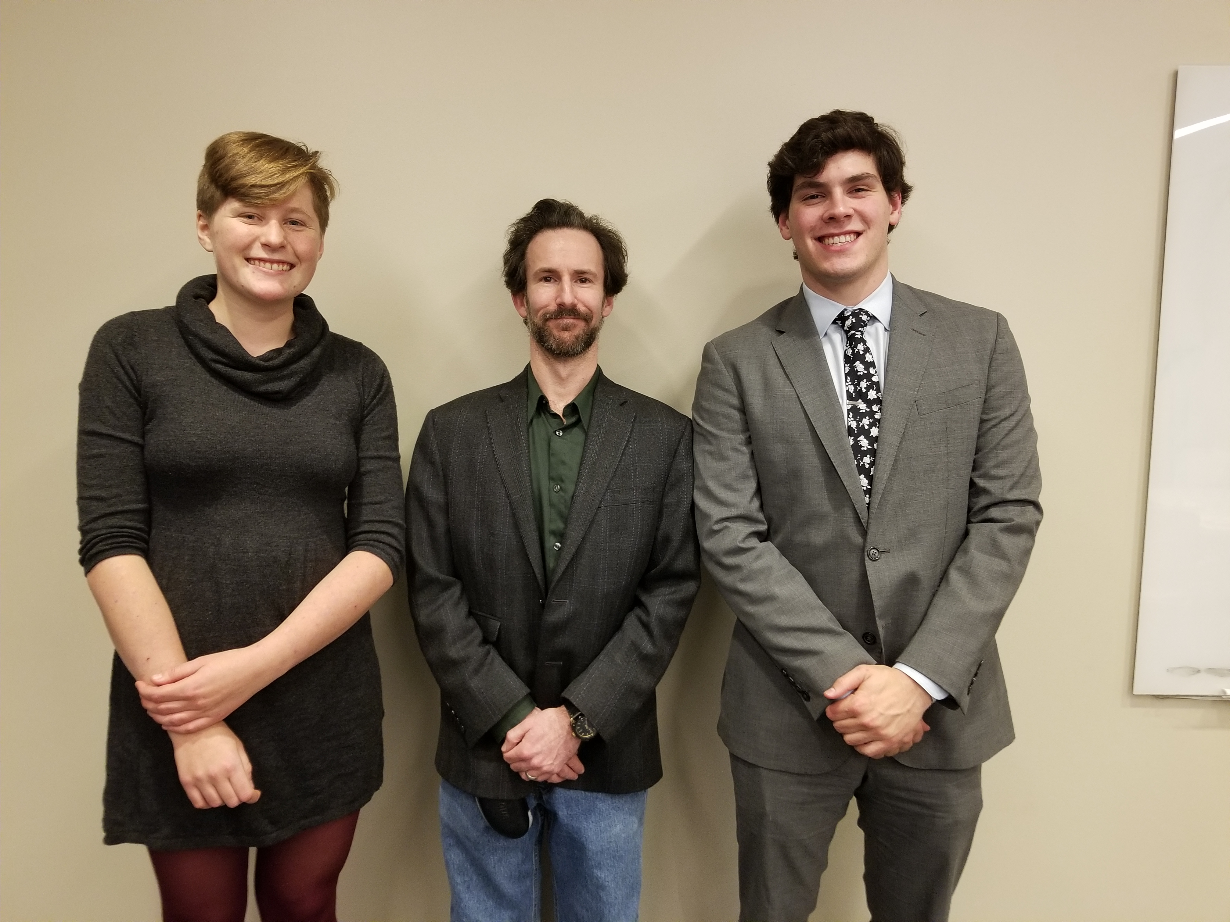 Professor Justin Buchler with his advisees Gillian Prater-Lee and Alexander Quinn