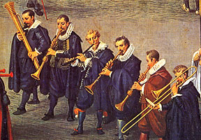 Wind band with shawms, cornett, sackbuts, and curtal. Procession in Brussels (detail, 1615). Dennis van Alsloot. Madrid, Prado.