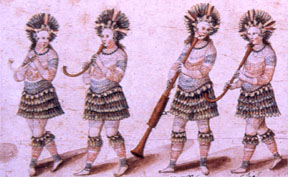 South American natives playing krummhorns and basset shawm. Italian (16th century).