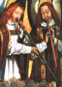 Shawm & slide trumpet. Angel musician (detail) from the Najera Tryptich by Hans Memling (ca.1480). Antwerp, Musée des Beaux-Arts, no. 779.