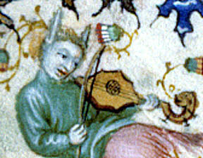 Holly-leaf shaped vielle. Marginal decoration from The Hours of Charles the Noble (ca.1404). Cleveland Museum of Art 64.40, fol. 277r.