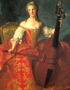 Woman playing 7-string viol. Portrait of Madame Henriette de France (1754) by Jean-Marc Nattier. Paris, Musée de Versailles.