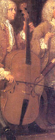 Cello player. A musical party: the Mathias family (detail) by William Hogarth (1697-1764). Cambridge, Fitzwilliam Museum.