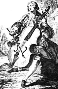 Cello player from M'thode...pour apprendre le Violoncelle by Michel Corrette (Paris, 1741).