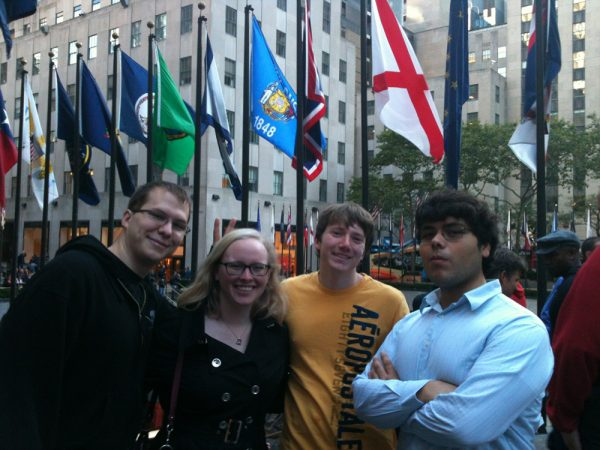 Students on the staff of Engineering and Science Review, an undergraduate research magazine, recently traveled to New York City, where visits to several museums gave them ideas for designing their publication and presenting science in interesting ways. From left: William Lenart, business manager; Kathryn Goldberg, editor; Matthew Steadman and Andres Rosales, writers.