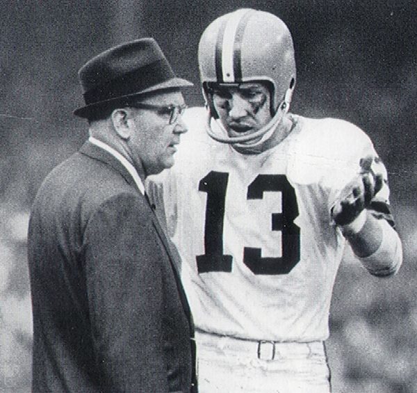 Ryan discusses a play with Browns coach Blanton Collier. Collier believed in Ryan and stuck with him through early struggles with the Browns. It paid off with Ryan playing in three consecutive Pro Bowls ('65, '66 and '67) and leading the Browns to Cleveland's last professional sports title in 1964. Photo courtesy of the Cleveland Browns.