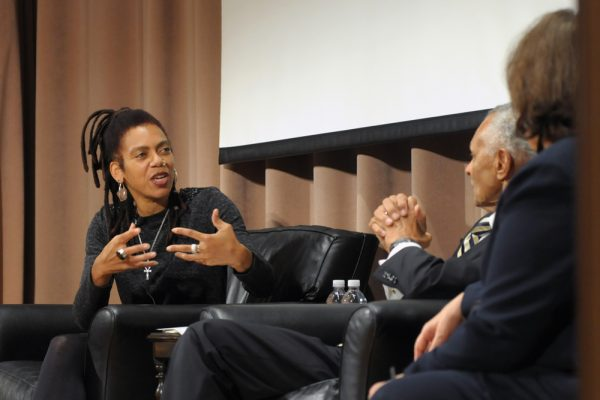 From left: Rhonda Y. Williams, founding director of the Social Justice Institute, the Rev. Dr. C. T. Vivian and Diane Nash discussed the 1961 Freedom Rides campaign on its 50th anniversary. Photo by Rodney L. Brown.