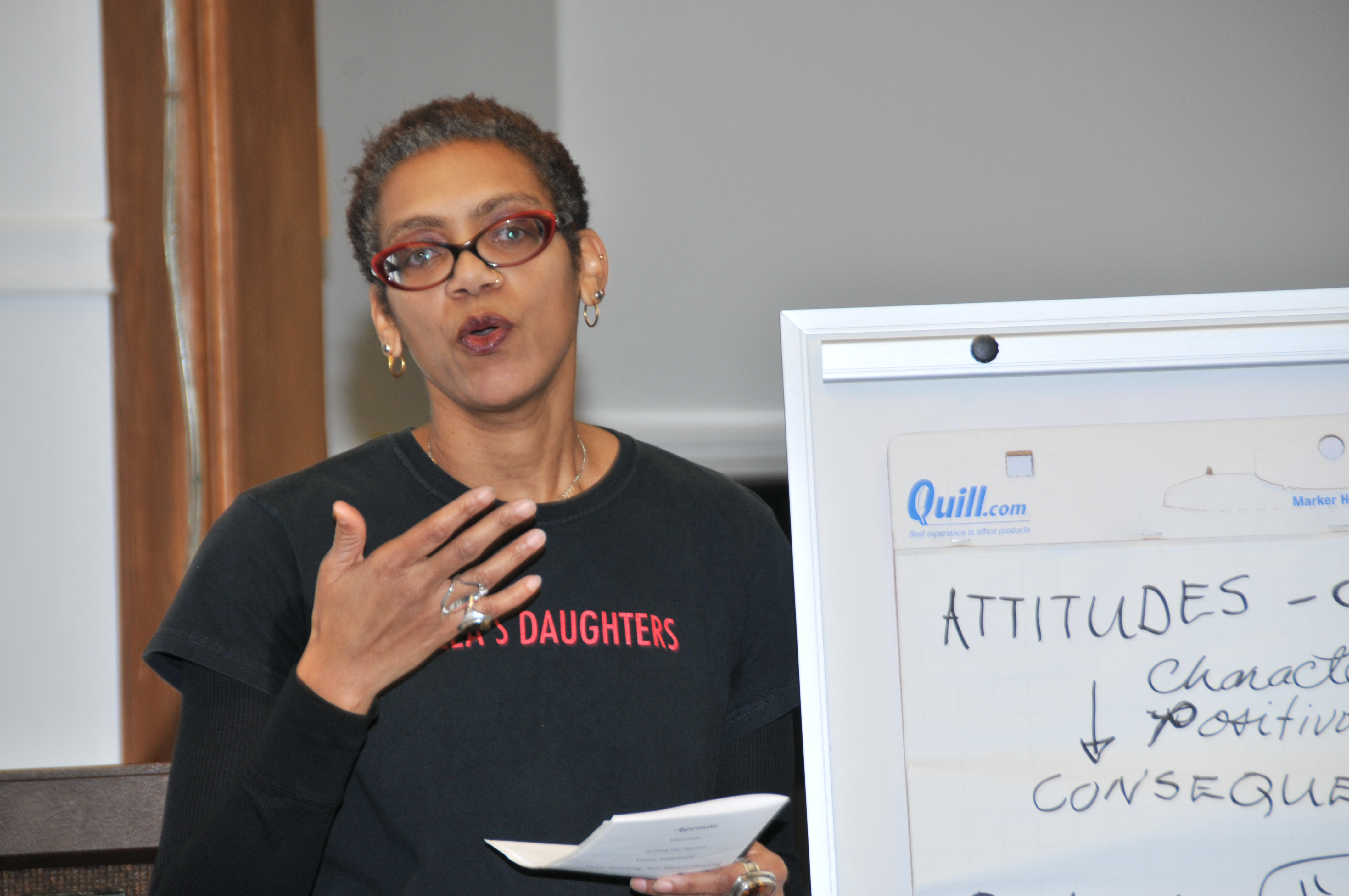 In February 2014, Rhonda Williams facilitated a discussion at the East Cleveland Public Library in which residents articulated their hopes for their community. The event was part of the Social Justice Institute's Voicing and Action Project.