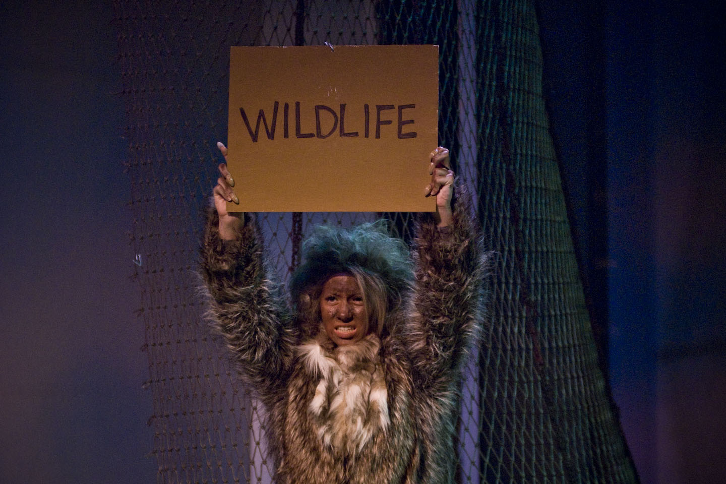 "As Bogomolny portrayed her, the yeti seemed almost human at times, and very much a wild creature at others. Her character, playwright Jon Klein says, ""needs to be as fully developed and considered as anyone else in the play—this is not just an actor in a monkey suit."" Photo by Peter Jennings."