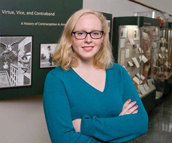 Kathryn Goldberg learned about the Dalkon Shield, a device that harmed thousands of women in the 1970s, while working at the college's Dittrick Medical History Center. The center is home to the Percy Skuy Collection on the History of Contraception. Photo by Mike Sands.