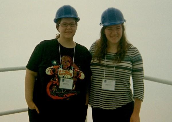 Ashley Shukayr and Elizabeth Tarantino touring NRAO's Green Bank Telescope.