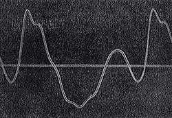 The two tracings compare a synthetically-reproduced organ pipe curve with the original sound wave trace. Source: Journal of the Franklin Institute, Jan 1916, p 72.
