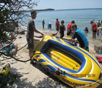 picture of inflatable boat at the beach