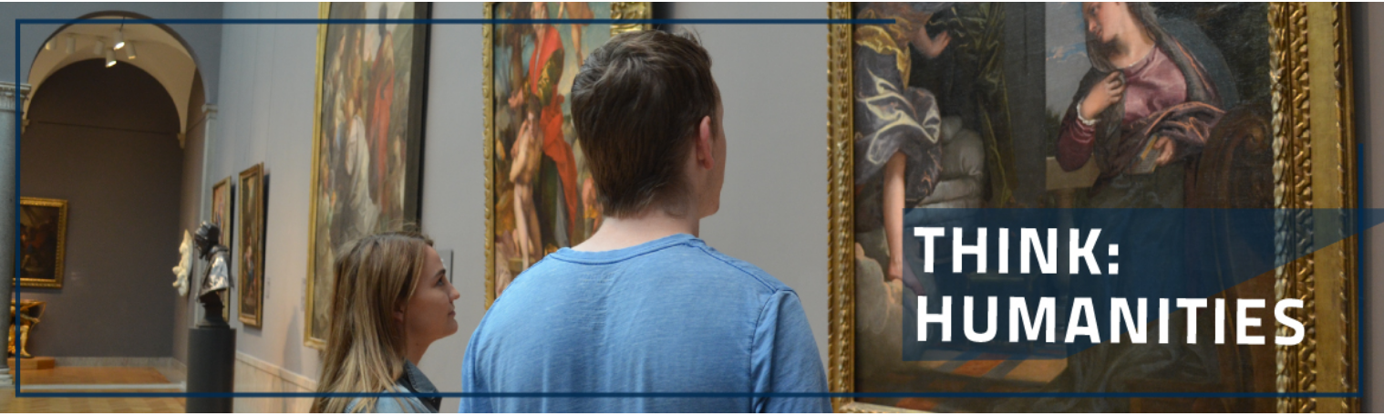 Think Humanities: Two Students look at a painting in the Cleveland Museum of Art