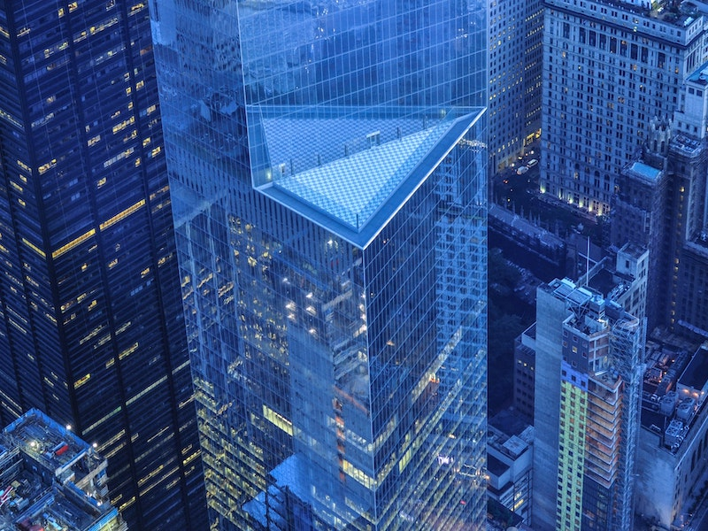 aerial view of new wall street skyscraper nyc