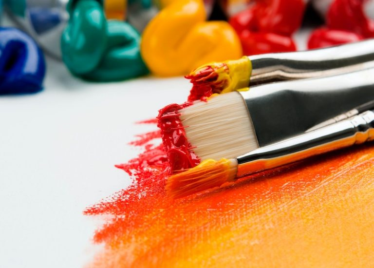 paintbrush with bright colors