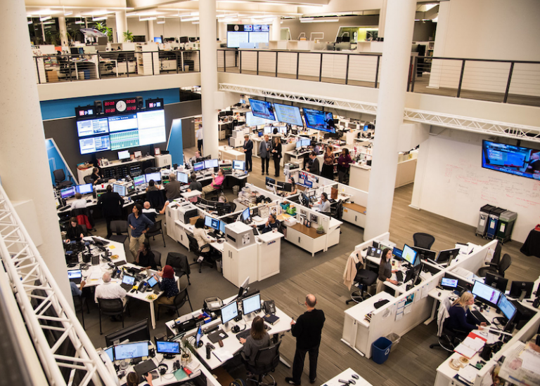 a birds eye view of the NPR newsroom on two floors