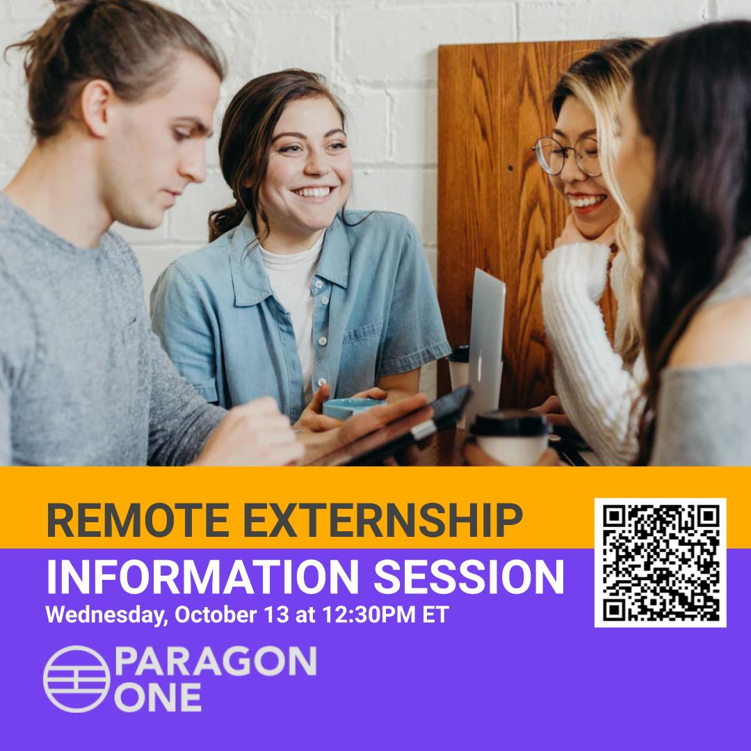 text with QR code for the session. photo of 4 students talking