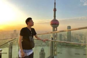 On a rooftop bar, above Shanghai's Bund.