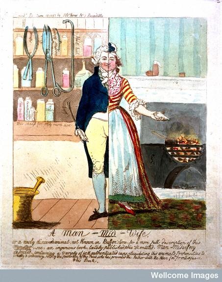 L0018481 Carciature of a man-midwife as a split figure