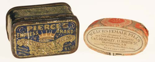 Left; Tin box containing Pennyroyal tablets Right; Paper coverered wood box with pills of unknown composition
