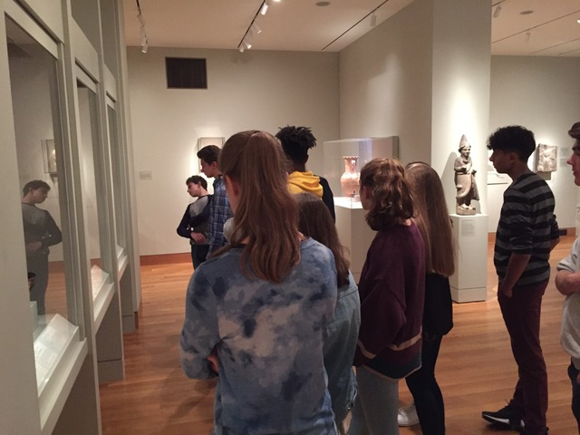 Students in the Greek and Roman galleries of the Cleveland Museum of Art