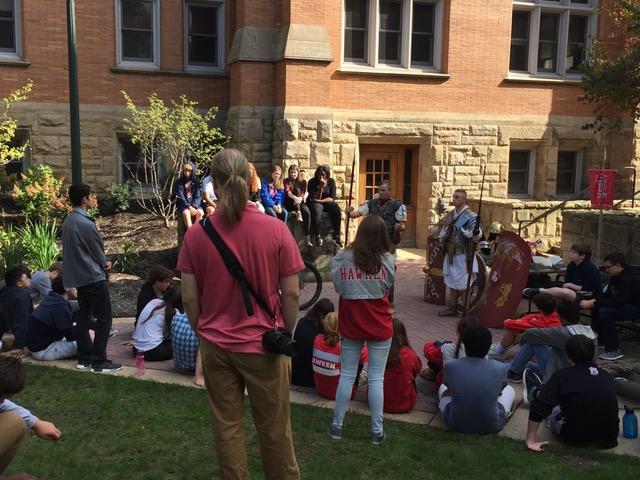 Hawken students meet members of the Roman legion