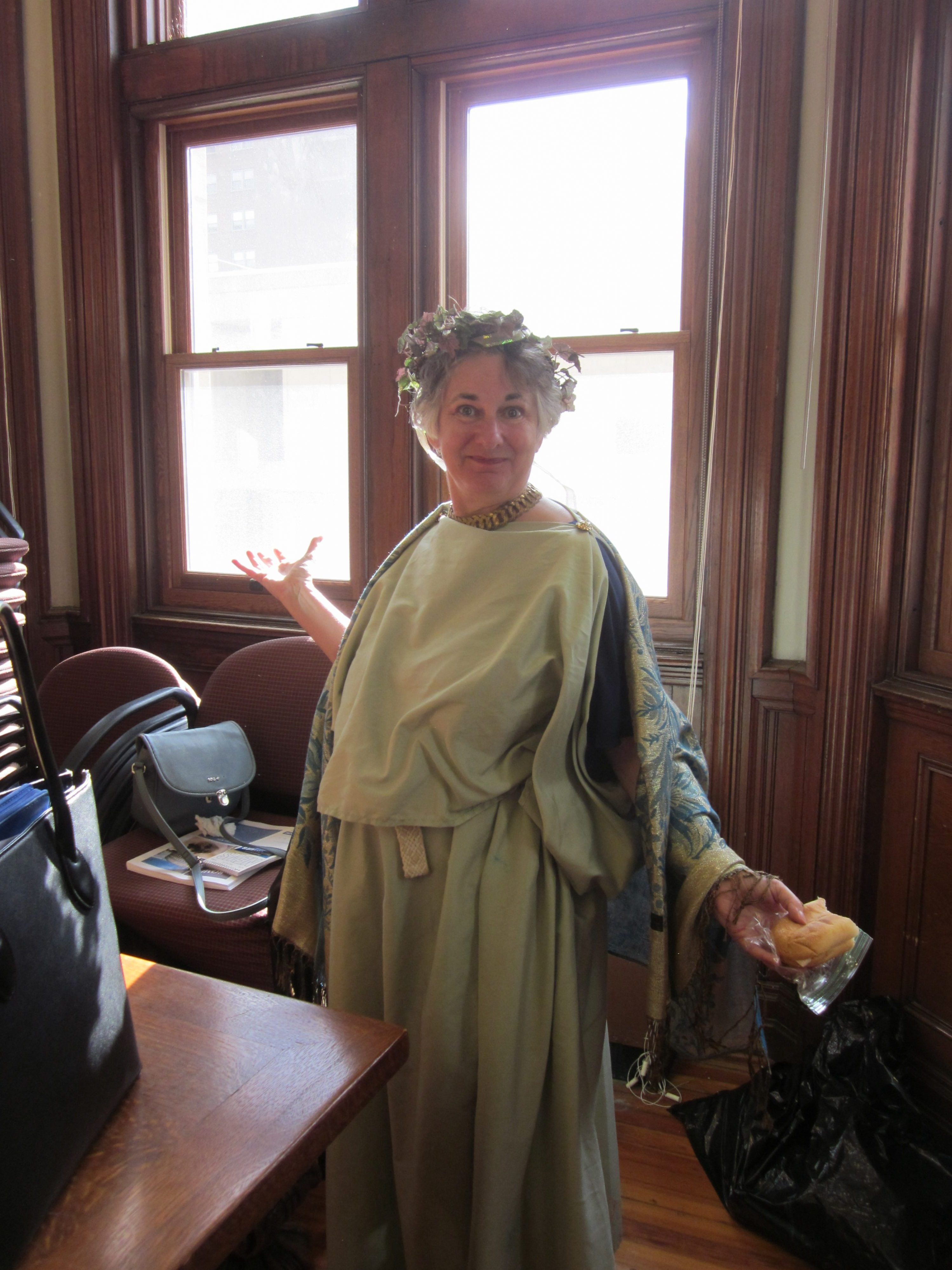 Professor Rachel Sternberg models a completed stola
