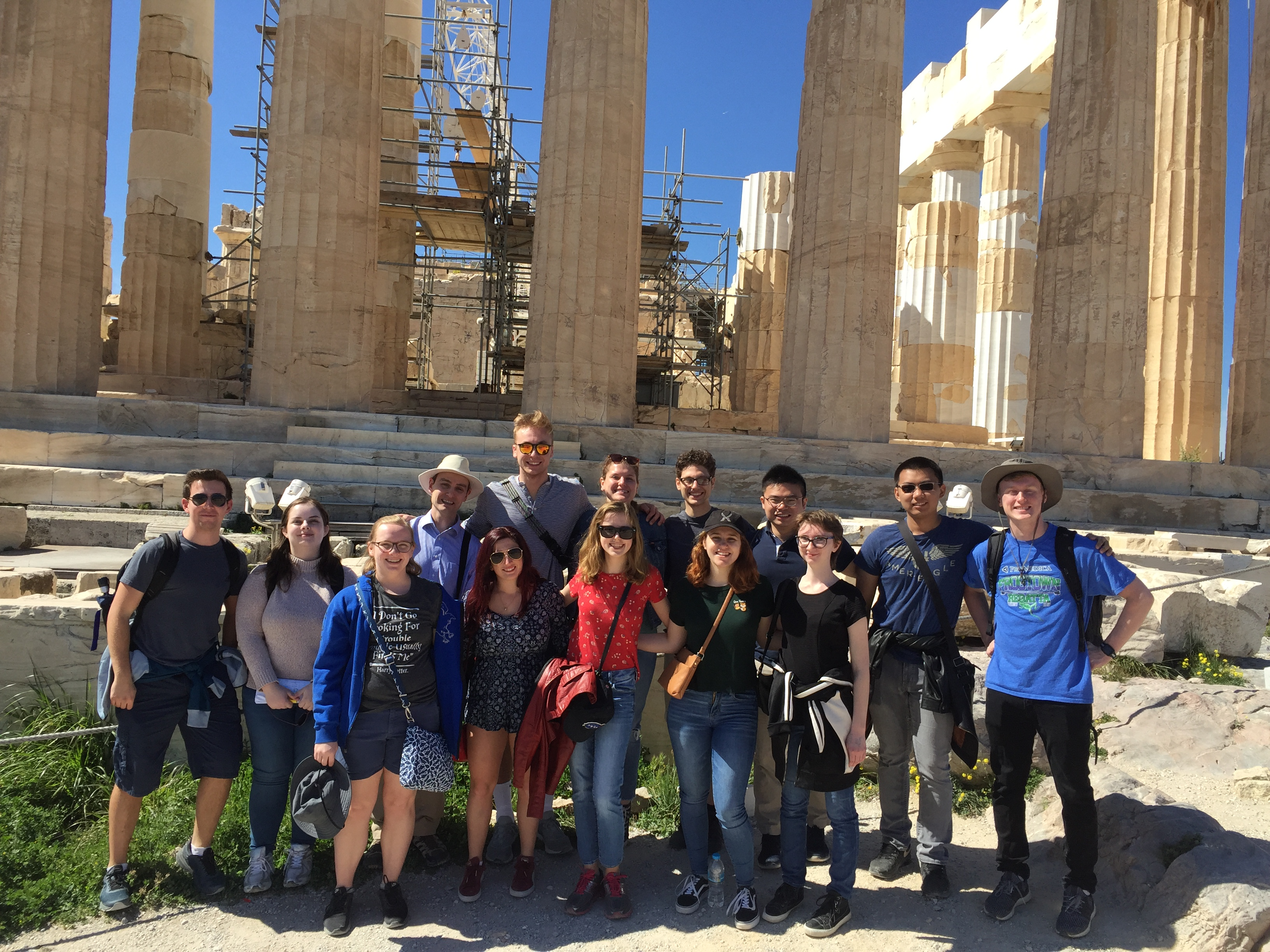 Students on the Acropolis in Athens, Greece