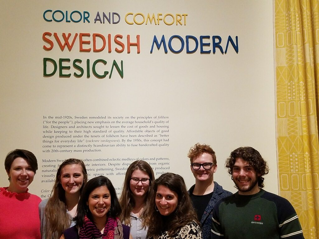Students in front of Swedish Modern Design