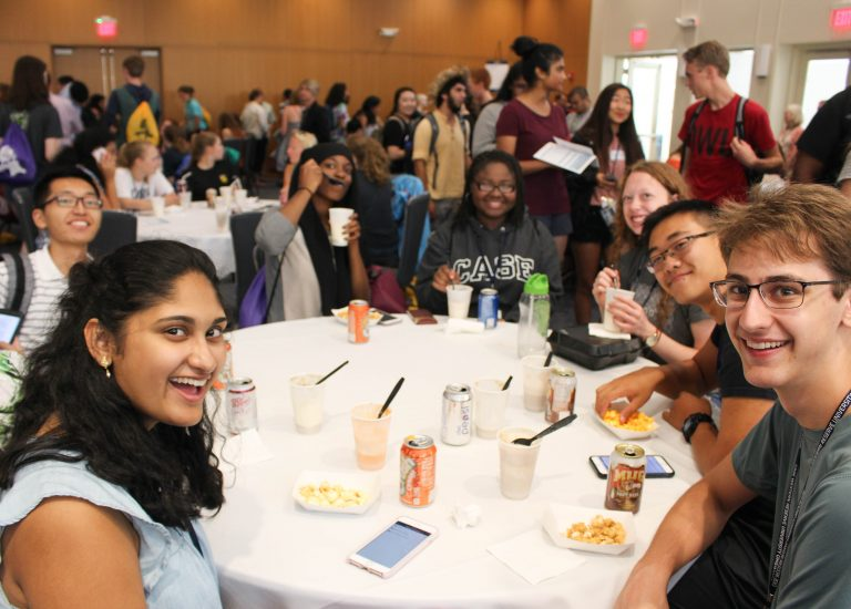 Students attending an orientation event with the College of Arts and Sciences