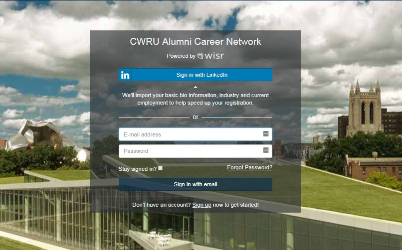 A screenshot of the login page of CWRU's alumni career network