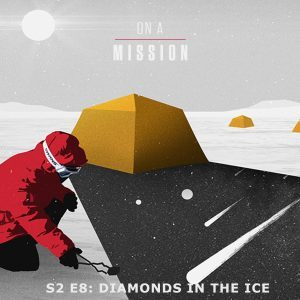 Cover art for NASA's On a Mission podcast depicts explorer searching for meteorites in Antarctica