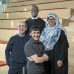 Arthur Evenchik, Steve Haynesworth (faculty) and two students in the Emerging Scholars program