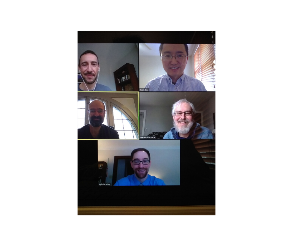 Five people from the Department - four faculty and one students - on a Zoom call,