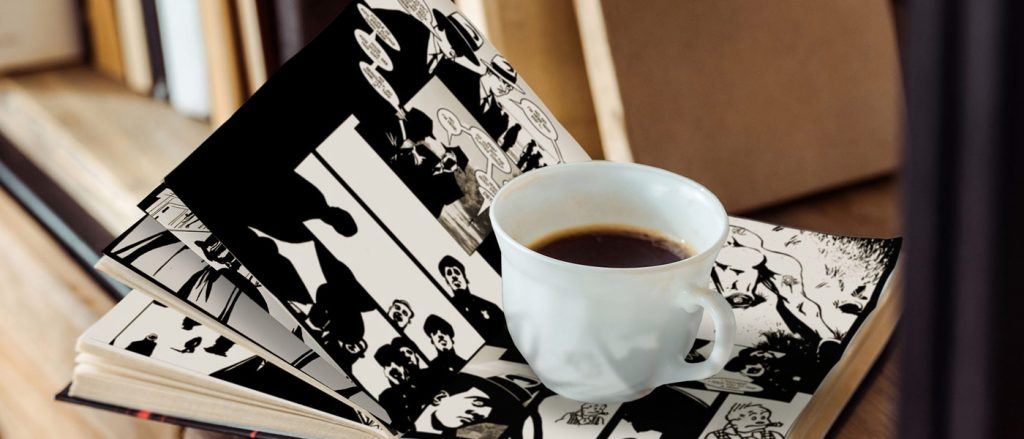 a cup of coffee rests on a book