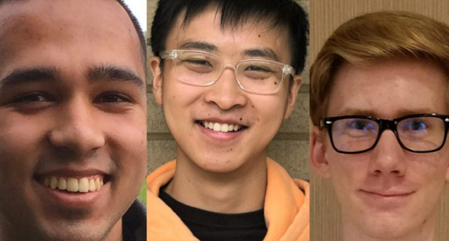 three student winners of the Barry Goldwater Scholarship award smile