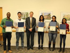 A picture of Dean Cyrus Taylor along with the 4 students who achieved a 4.0 gpa during the Fall 2016 semester: Ogo Okolo, Nikola Dikic, Gabrielle Blackshire, Brittany Rabb and Kiyla Cooper